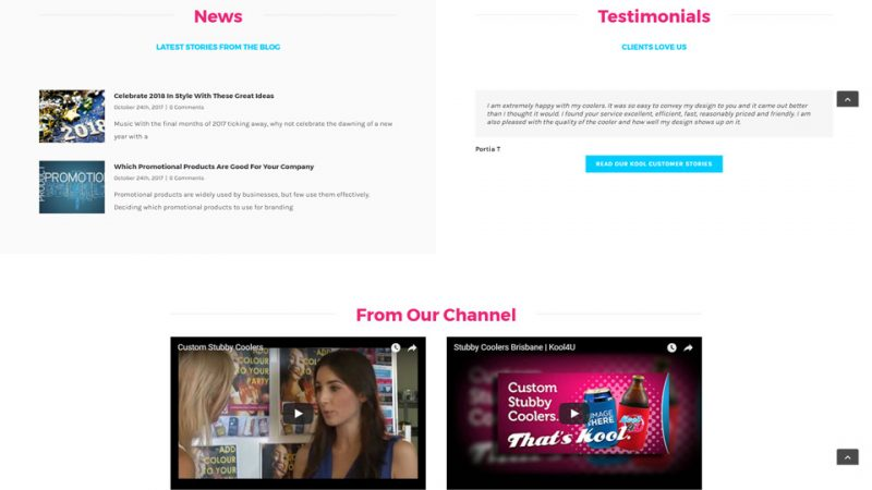 Kool 4 U website news and testimonials developed by Blue Pixel