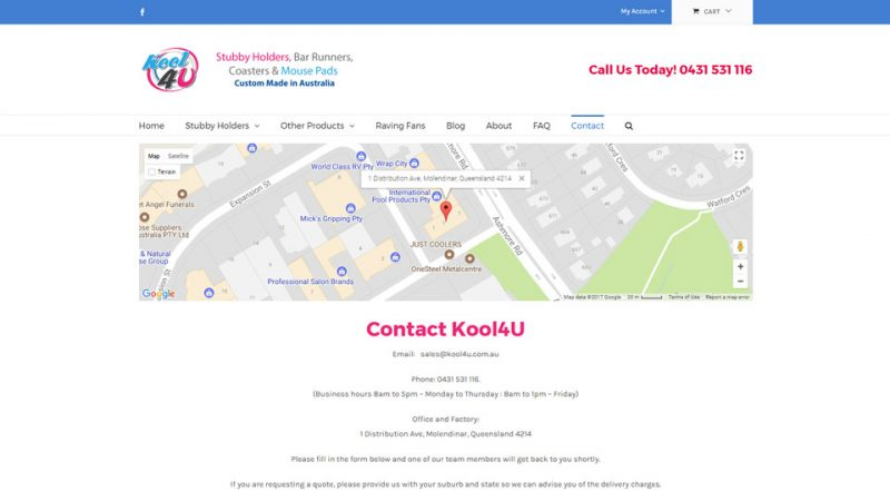 Contact Kool 4 U webpage by Blue Pixel