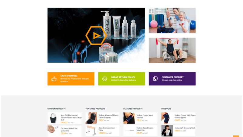 Medical Therapy Supplies shopping home page by Blue Pixel