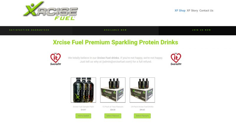 Xrcise Fuel shop page by Blue Pixel web design